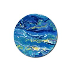 Sunlit Waters Rubber Coaster (round)  by lwdstudio