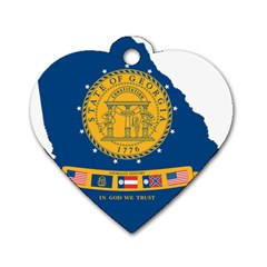 Flag Map Of Georgia, 2001 2003 Dog Tag Heart (one Side) by abbeyz71
