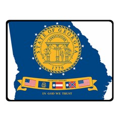 Flag Map Of Georgia, 2001 2003 Double Sided Fleece Blanket (small)