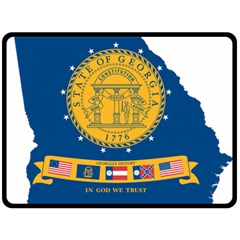Flag Map Of Georgia, 2001 2003 Double Sided Fleece Blanket (large)