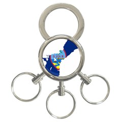 Flag Map Of Guam 3 Ring Key Chains