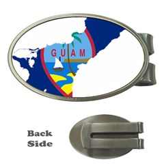 Flag Map Of Guam Money Clips (oval)