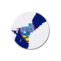 Flag Map Of Guam Rubber Round Coaster (4 Pack)  by abbeyz71