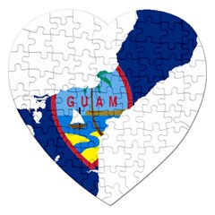 Flag Map Of Guam Jigsaw Puzzle (heart) by abbeyz71