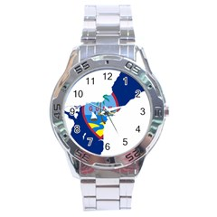 Flag Map Of Guam Stainless Steel Analogue Watch
