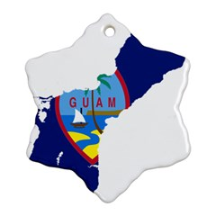 Flag Map Of Guam Snowflake Ornament (two Sides) by abbeyz71