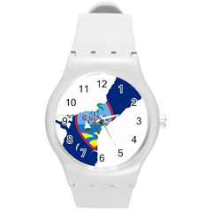 Flag Map Of Guam Round Plastic Sport Watch (m)