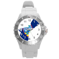 Flag Map Of Guam Round Plastic Sport Watch (l)