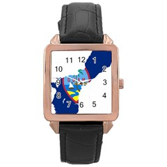 Flag Map Of Guam Rose Gold Leather Watch