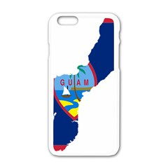Flag Map Of Guam Apple Iphone 6/6s White Enamel Case by abbeyz71