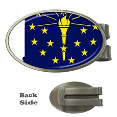 Flag Map Of Indiana Money Clips (oval)