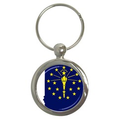 Flag Map Of Indiana Key Chains (round)