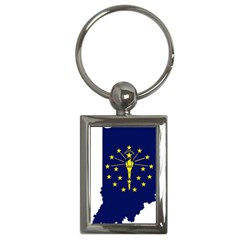 Flag Map Of Indiana Key Chains (rectangle)