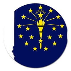 Flag Map Of Indiana Magnet 5  (round)