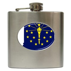 Flag Map Of Indiana Hip Flask (6 Oz)
