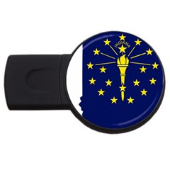 Flag Map Of Indiana Usb Flash Drive Round (2 Gb)