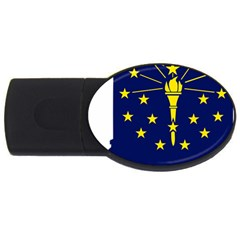 Flag Map Of Indiana Usb Flash Drive Oval (2 Gb)