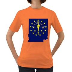 Flag Map Of Indiana Women s Dark T Shirt
