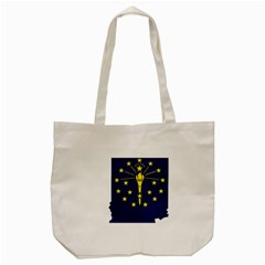 Flag Map Of Indiana Tote Bag (cream)