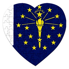 Flag Map Of Indiana Jigsaw Puzzle (heart)