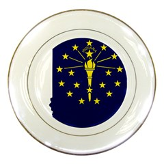 Flag Map Of Indiana Porcelain Plates