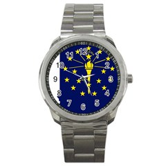 Flag Map Of Indiana Sport Metal Watch
