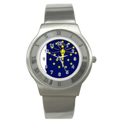 Flag Map Of Indiana Stainless Steel Watch