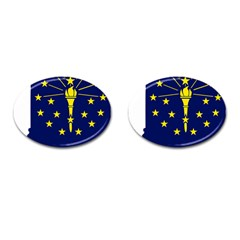 Flag Map Of Indiana Cufflinks (oval)