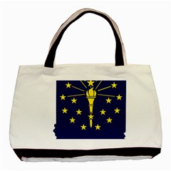 Flag Map Of Indiana Basic Tote Bag