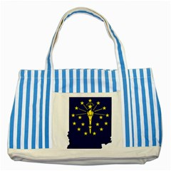 Flag Map Of Indiana Striped Blue Tote Bag