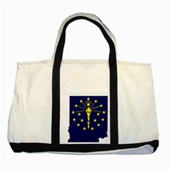 Flag Map Of Indiana Two Tone Tote Bag