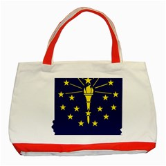 Flag Map Of Indiana Classic Tote Bag (red)