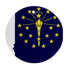 Flag Map Of Indiana Round Ornament (two Sides)