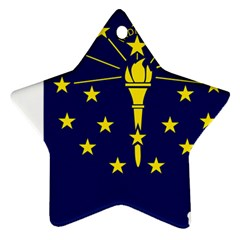 Flag Map Of Indiana Star Ornament (two Sides)