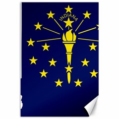 Flag Map Of Indiana Canvas 12  X 18