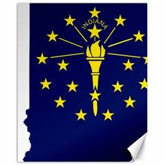 Flag Map Of Indiana Canvas 16  X 20