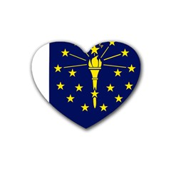 Flag Map Of Indiana Rubber Coaster (heart)