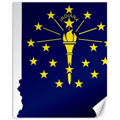 Flag Map Of Indiana Canvas 11  X 14