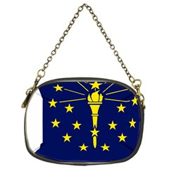 Flag Map Of Indiana Chain Purse (one Side)