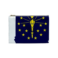 Flag Map Of Indiana Cosmetic Bag (medium)