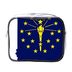 Flag Map Of Indiana Mini Toiletries Bag (one Side)