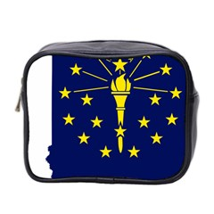 Flag Map Of Indiana Mini Toiletries Bag (two Sides)