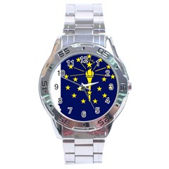 Flag Map Of Indiana Stainless Steel Analogue Watch