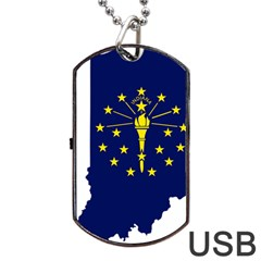 Flag Map Of Indiana Dog Tag Usb Flash (one Side)