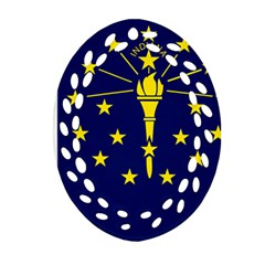 Flag Map Of Indiana Oval Filigree Ornament (two Sides)
