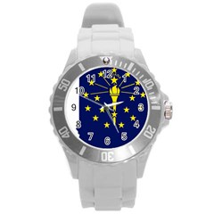 Flag Map Of Indiana Round Plastic Sport Watch (l)