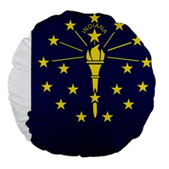 Flag Map Of Indiana Large 18  Premium Round Cushions