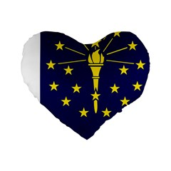 Flag Map Of Indiana Standard 16  Premium Heart Shape Cushions