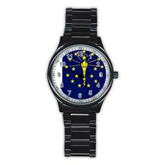 Flag Map Of Indiana Stainless Steel Round Watch