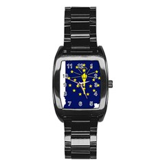 Flag Map Of Indiana Stainless Steel Barrel Watch